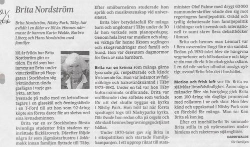 2016 01 21 Brita Nordström död SvD